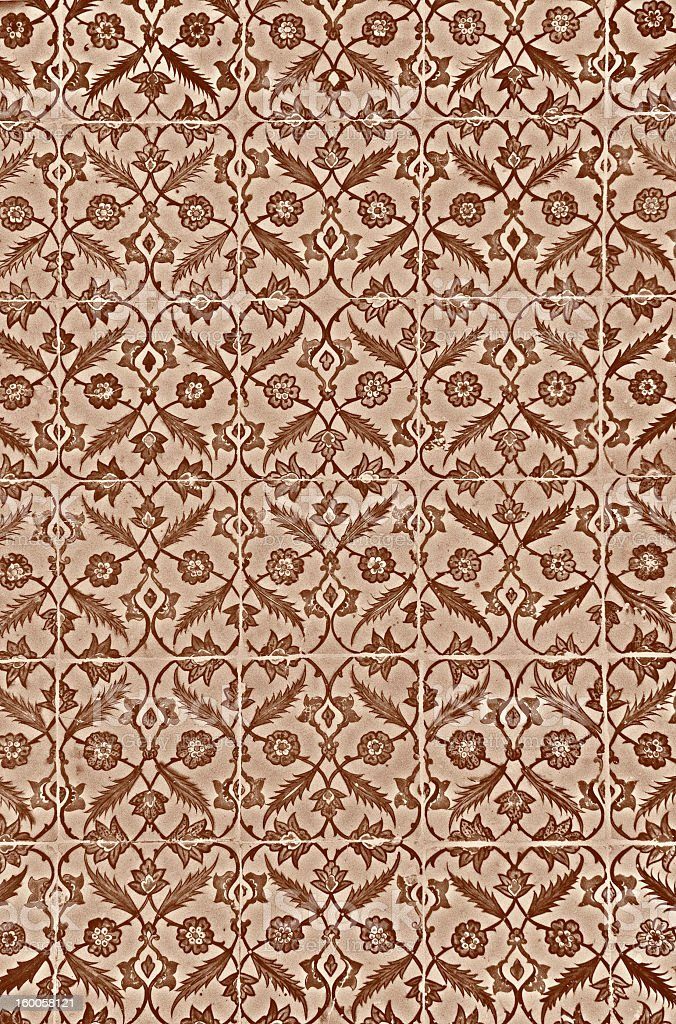Ancient Iznik Tiles with Floral Pattern royalty-free stock photo