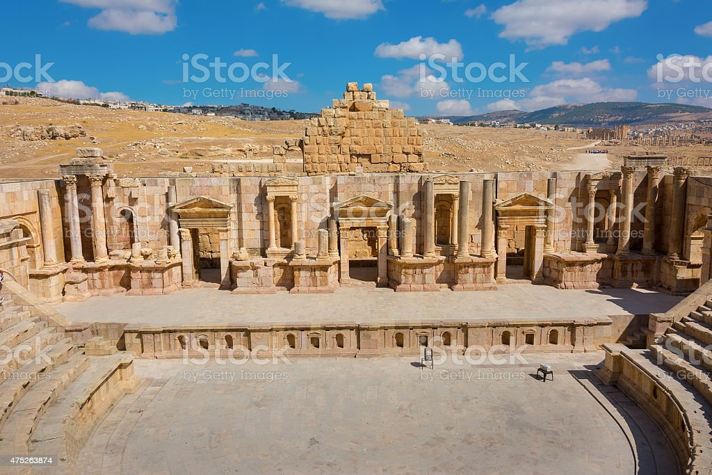 Ancient Jerash Jordan South Theater stock photo