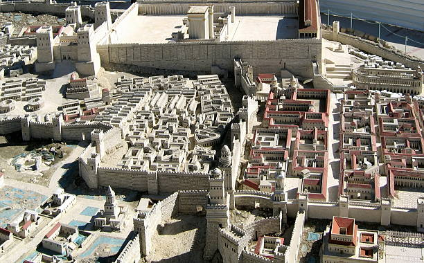 ancient Jerusalem in  period of the second temple. ancient Jerusalem in the period of the second temple. historical palestine stock pictures, royalty-free photos & images