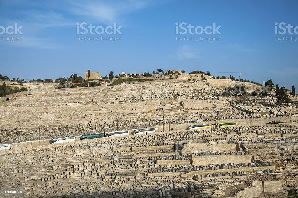 Ancient Jewish Cemetery on The Olive Mountain in Kidron Valley royalty-free stock photo