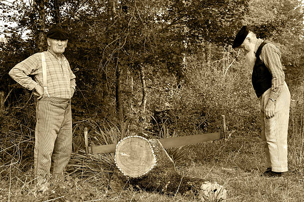 ancient job four Two former farmer who saw a tree. lumberjack stock pictures, royalty-free photos & images