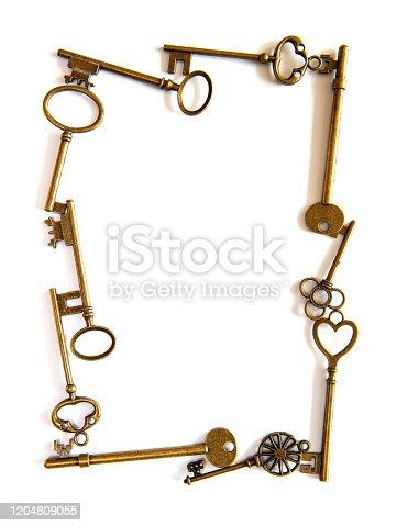 Ancient Keys frame isolated on white background