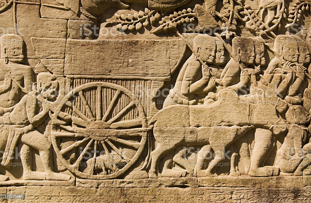 Ancient Khmer Cart and Cow stock photo