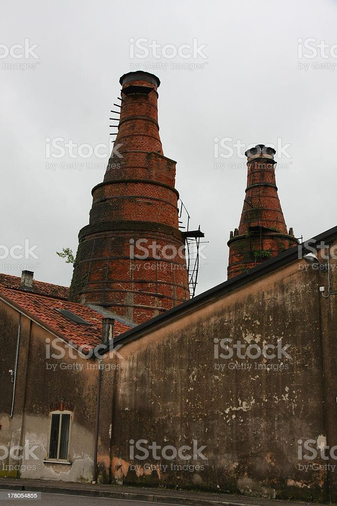 ancient kilns in a building of industrial archaeology  site stock photo