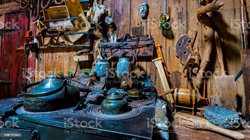 Ancient kitchen items in traditional Faroese house, Kirkjubour...