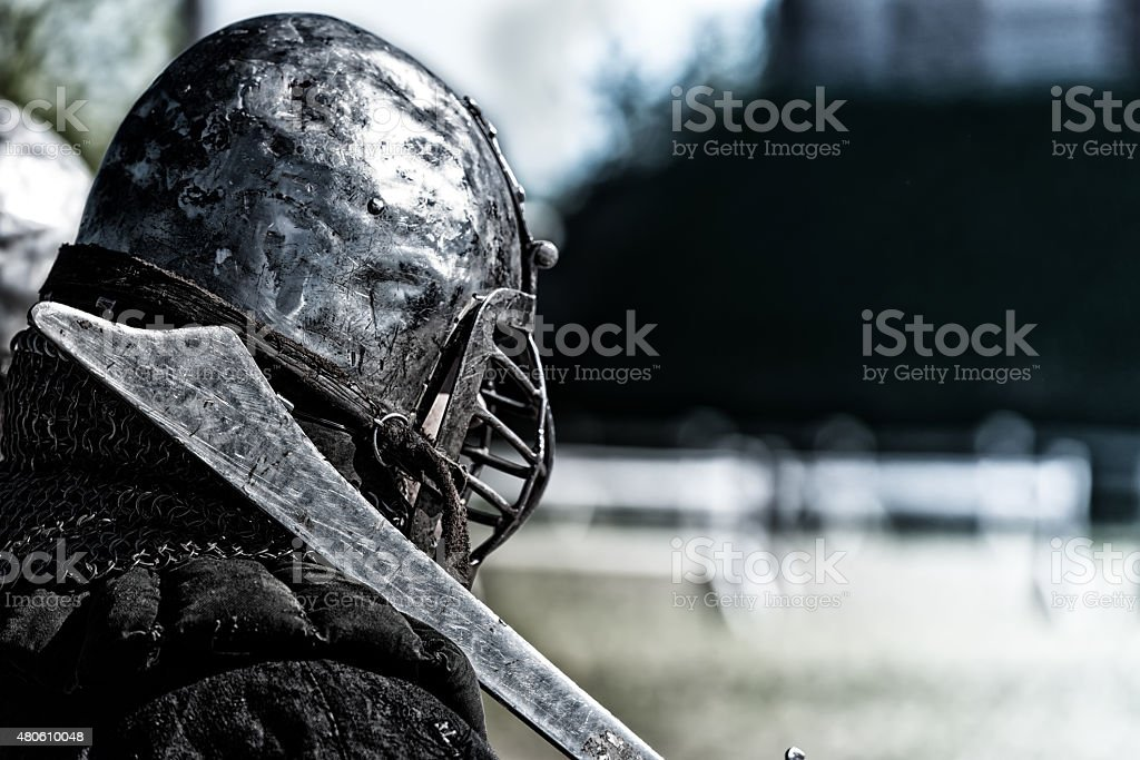 Ancient knight stock photo