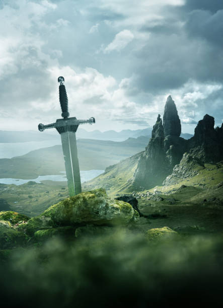 ancient knights sword background - empire stock pictures, royalty-free photos & images