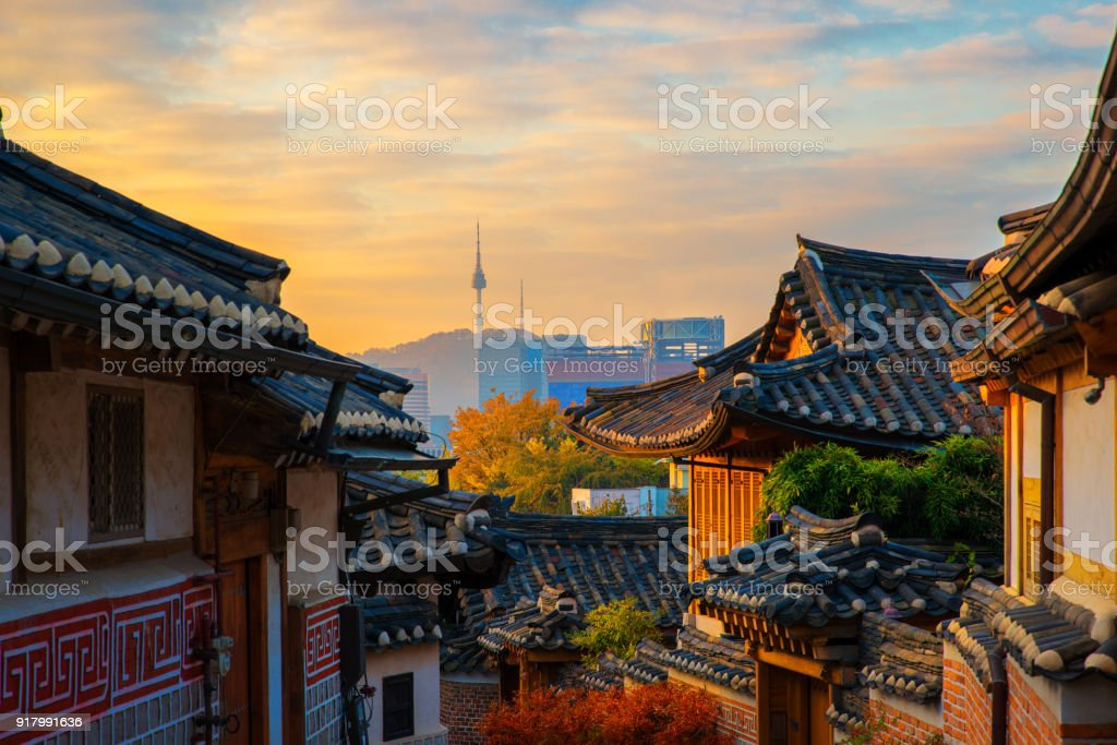 Ancient Korean town in Autumn and morning sunrise stock photo