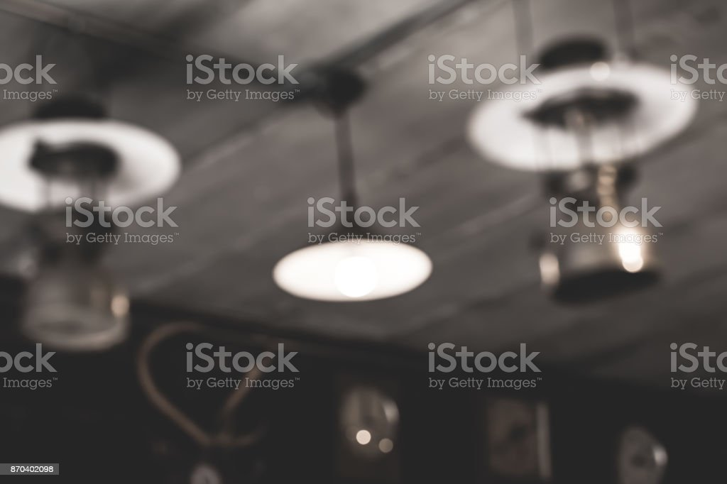 Ancient lamps old in darkness.( blur image ) stock photo