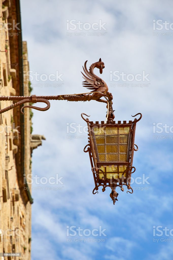 ancient lantern in historic tuscan city Volterra stock photo