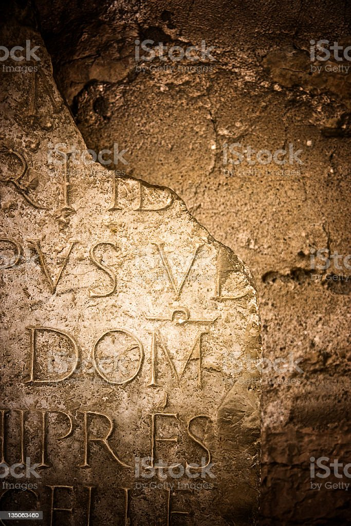 Ancient Latin Inscription Broken Stone royalty-free stock photo