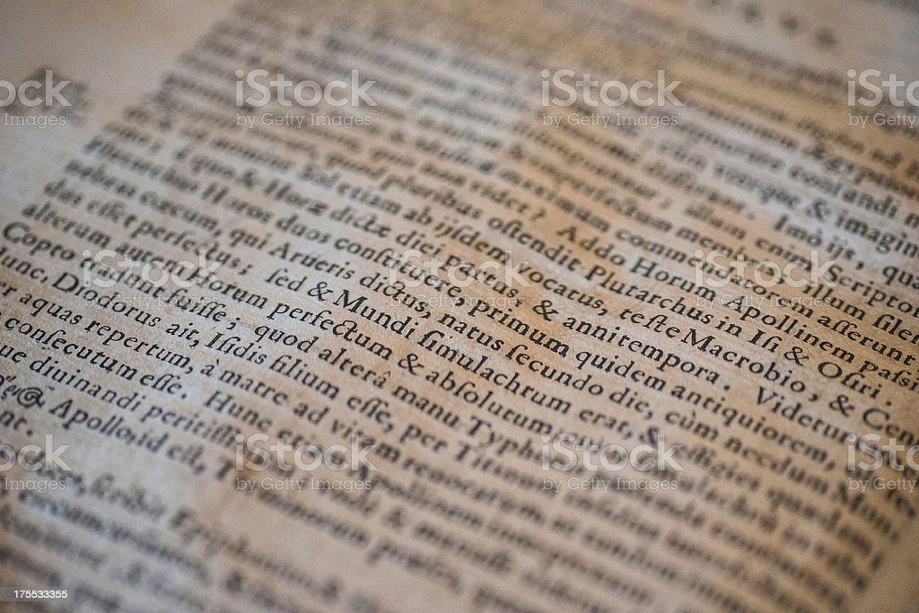 ancient latin text tilt view stock photo