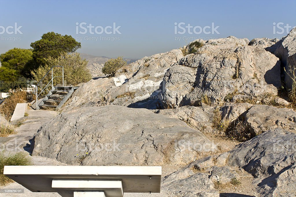 Ancient law court of Areopagus rock at Athens, Greece stock photo