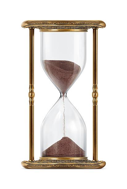 ancient looking hourglass - ancient white background bildbanksfoton och bilder