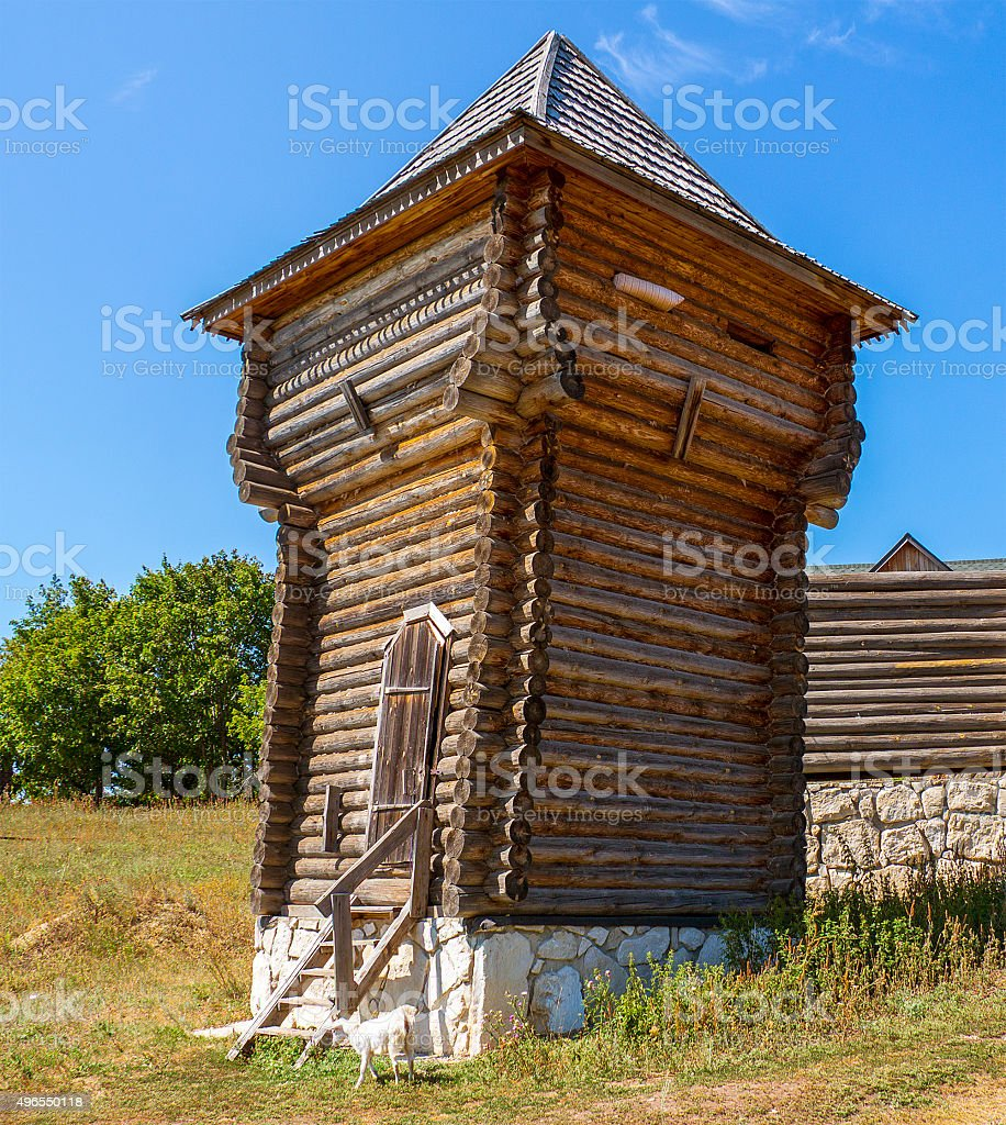 Ancient lookout tower stock photo