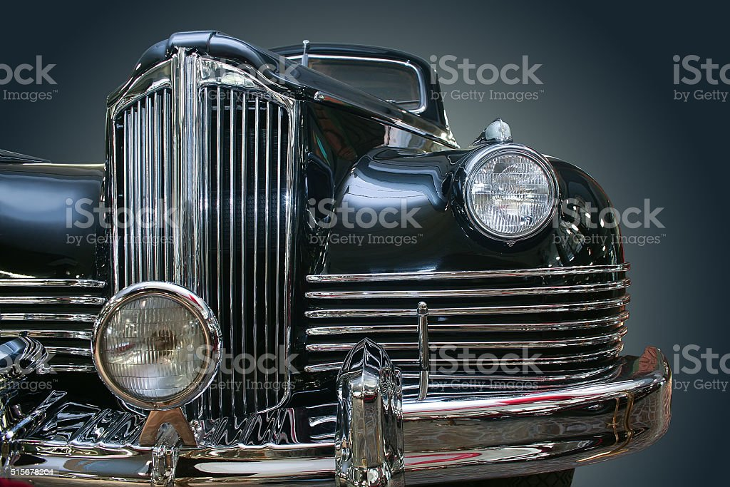 ancient luxury black car stock photo