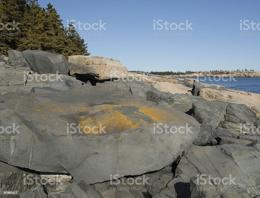 Ancient magma lies atop Schoodic Point in Maine royalty-free stock photo