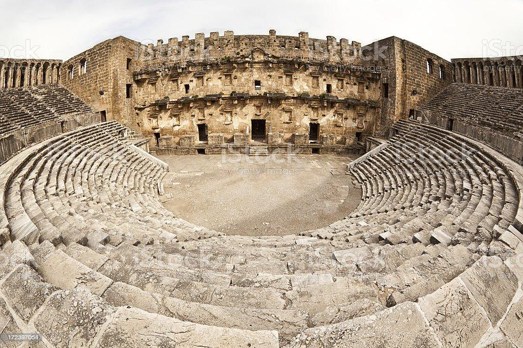 Ancient Manmade Roman Stone Amphitheater in Aspendos, Turkey stok fotoğrafı
