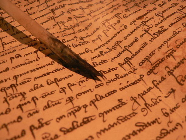 ancient manuscript stock photo
