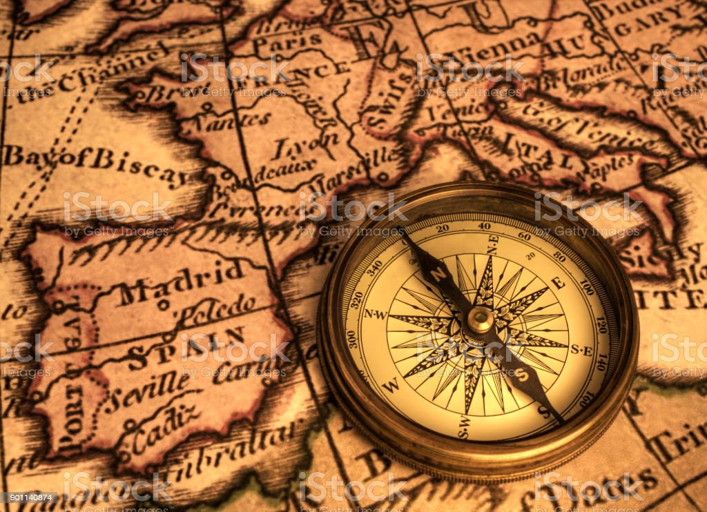 Ancient Map and Compass stock photo