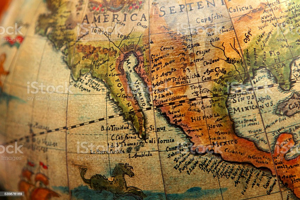 Map Of California Mexico.Ancient Map Of California And Mexico On Old Globe Stock Photo