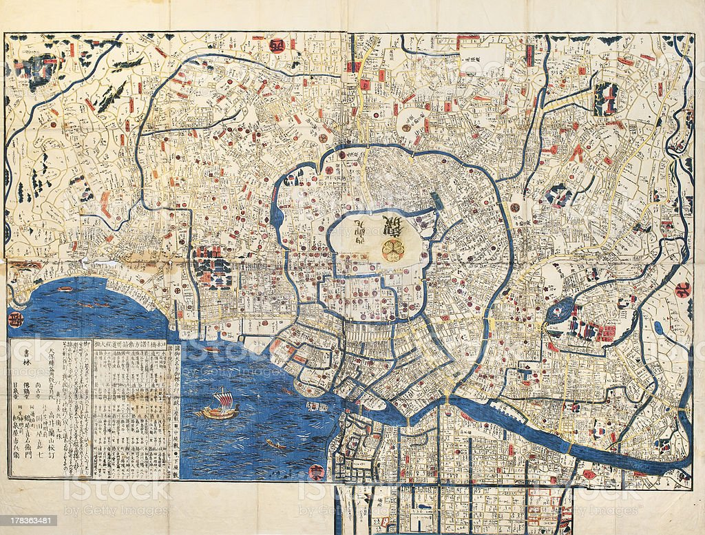 Ancient Map Of Old Japanese Capital Edo Tokyo Stock Photo More