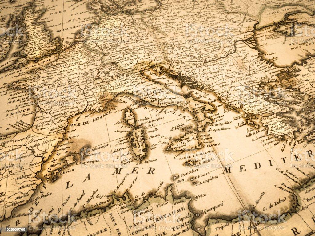 Ancient Map Of The Mediterranean Coastal Area Stock Photo ...