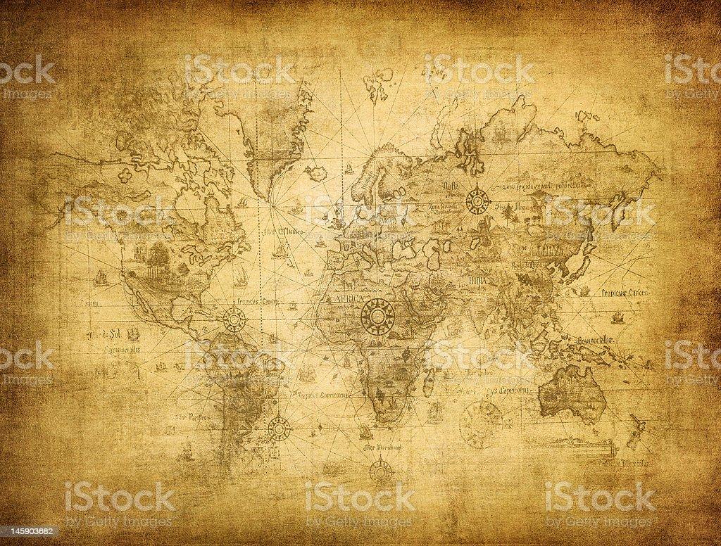 Antiguo mapa del mundo - foto de stock