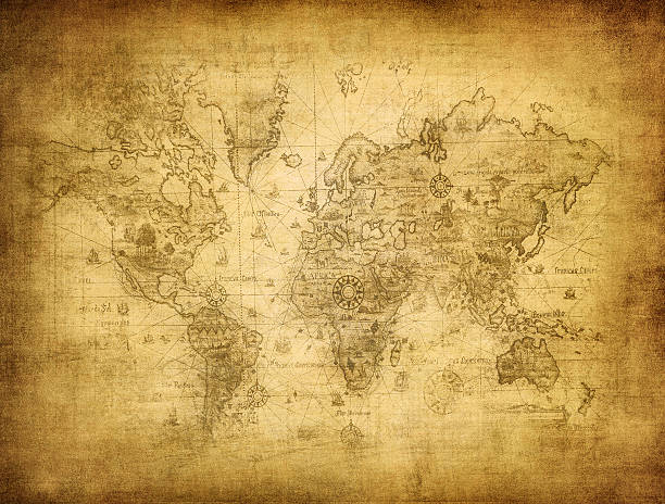 ancient map of the world - the past stock photos and pictures