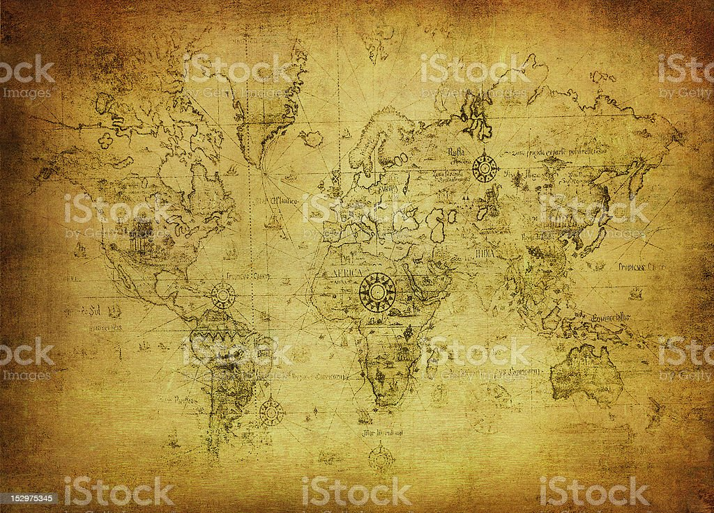 A ancient map of the world that has gotten yellow from age stock photo