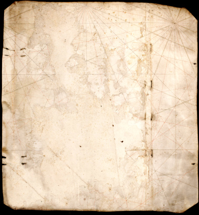 ancient map blank, only nautical lines traced on it
