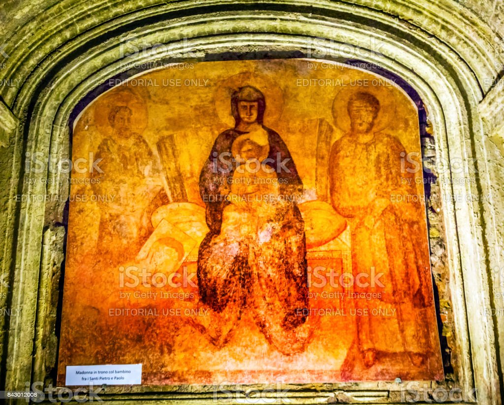 Ancient Mary Baby Jesus Fresco Luke's House Monument Santa Maria Via Lata Church Rome Italy stock photo