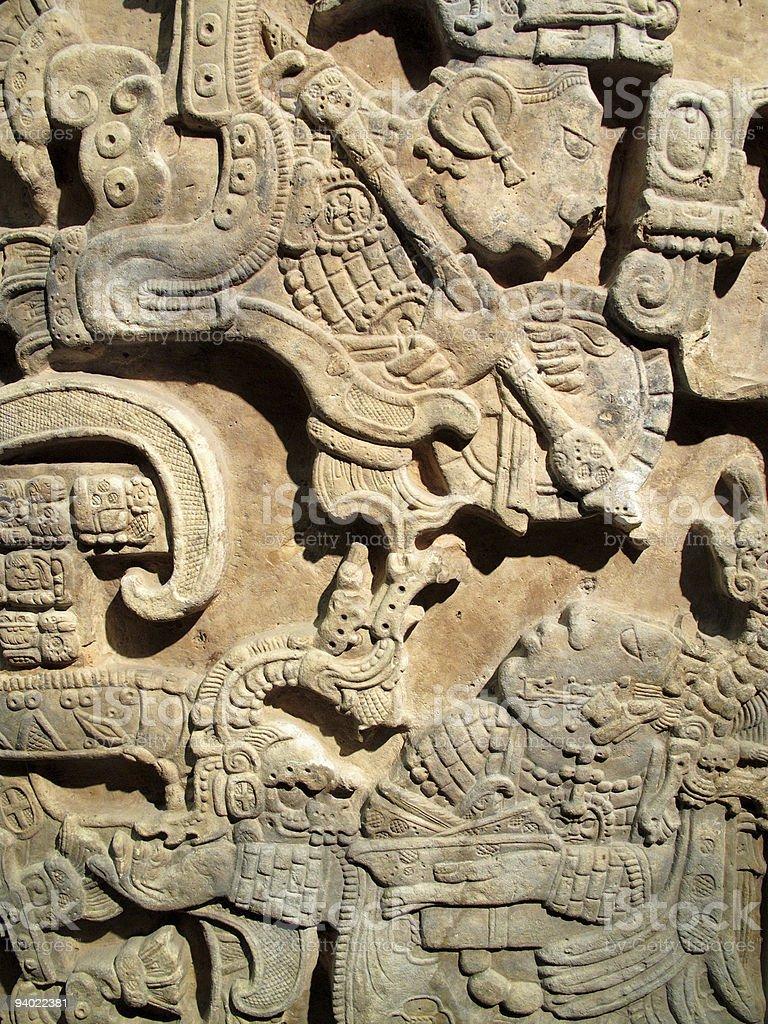 Ancient Maya lintel From Yachilan, Mexico stock photo