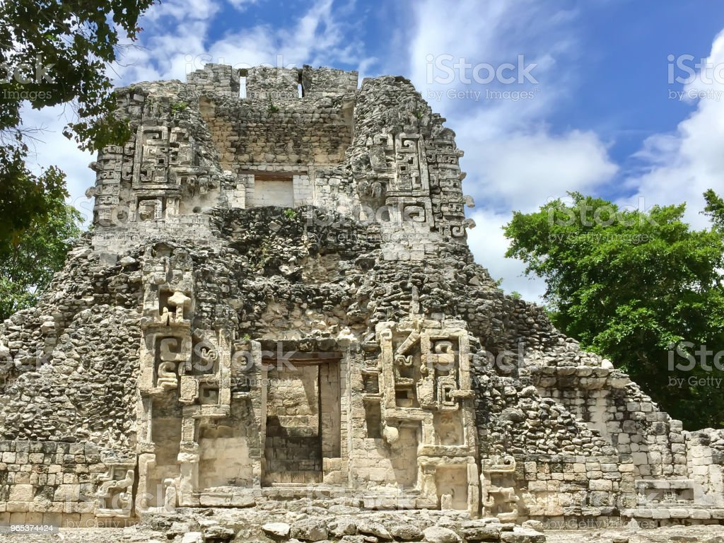 Ancient Maya ruin in Chicina, Campeche, Mexico zbiór zdjęć royalty-free