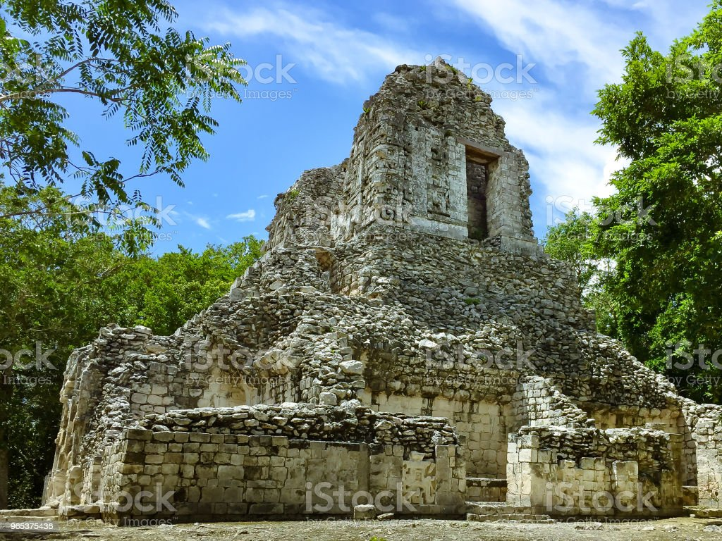 Ancient Maya ruin in Xpujil, Campeche, Mexico royalty-free stock photo