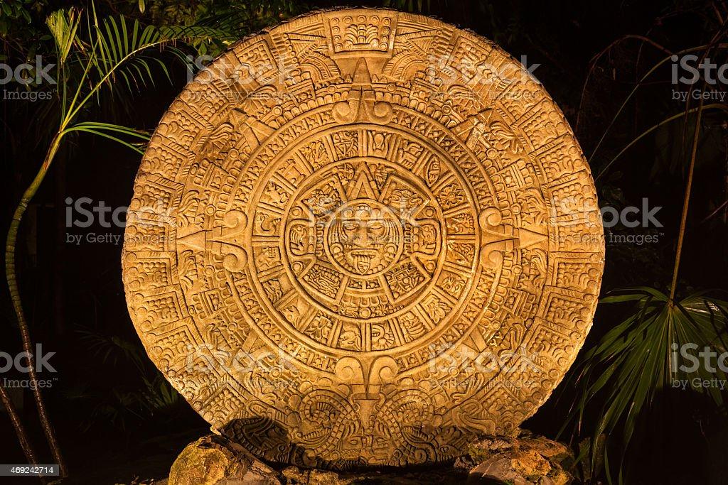 Ancient Mayan calendar stock photo
