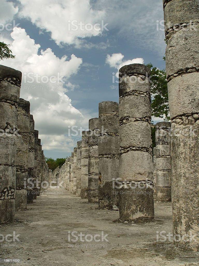 Ancient mayan columns stock photo
