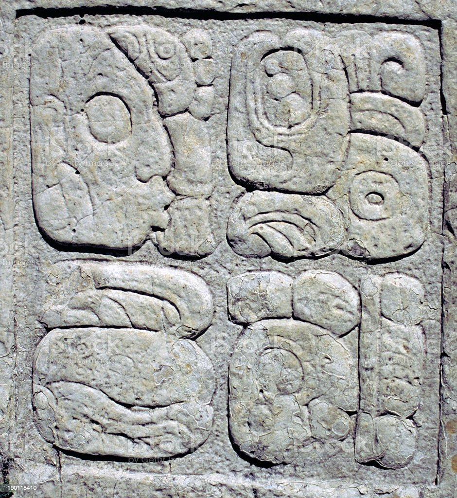 Ancient Mayan glyphs (writing) royalty-free stock photo