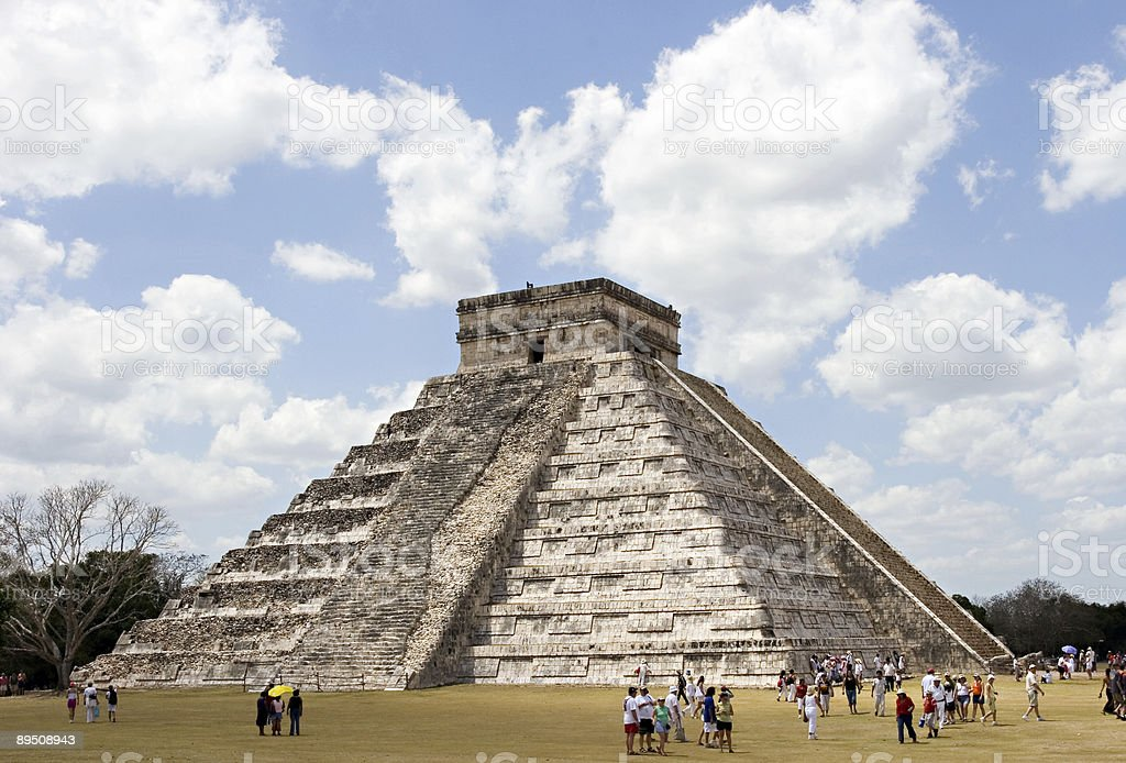 Ancient Mayan Piramide at Chichen Itza royalty-free stock photo