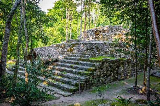 Ancient mayan pyramids Nohoch Mul in Coba stock photo