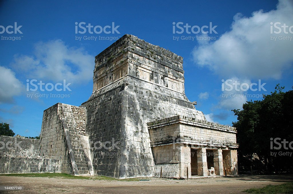 Ancient Mayan Spectator Building at Ball Court royalty-free stock photo