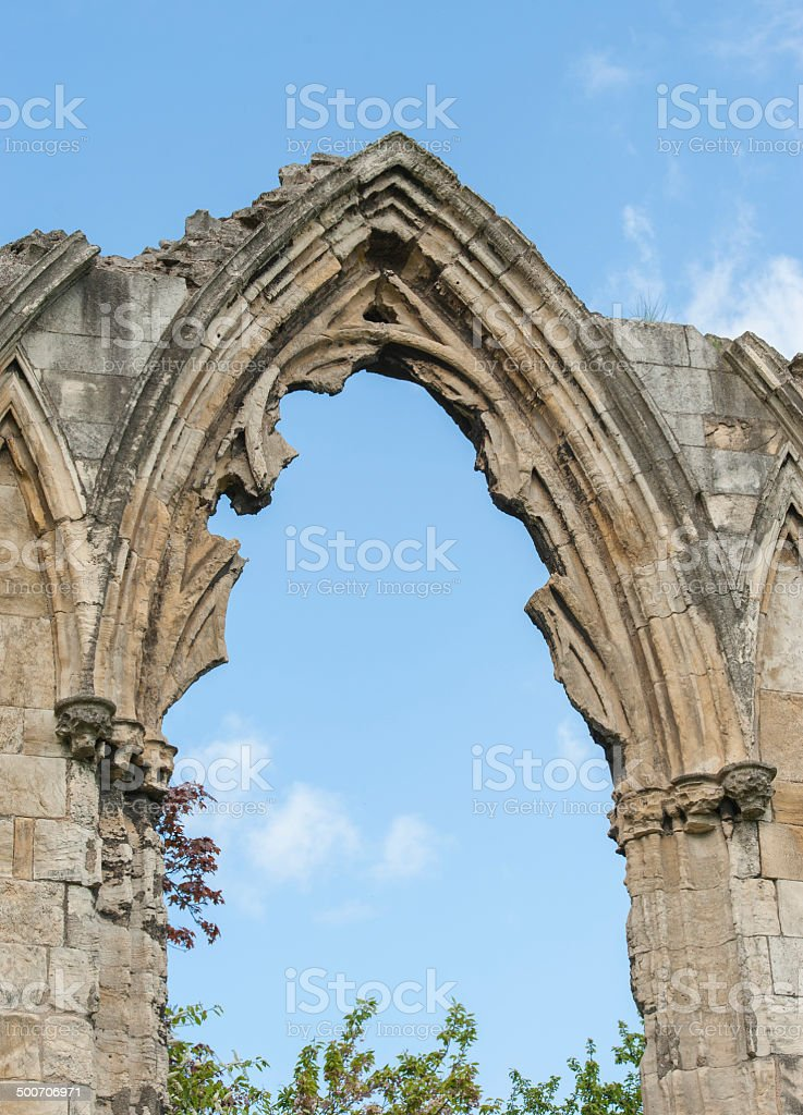 Ancient medieval church ruins in english city stock photo