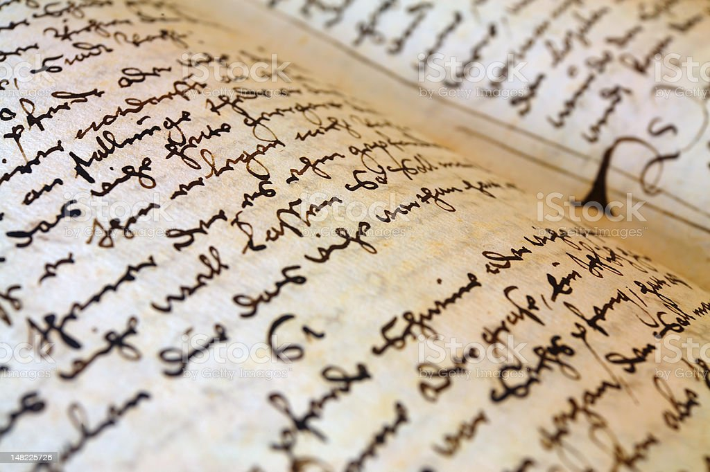 Ancient Medieval Handwriting Stock Photo - Download Image