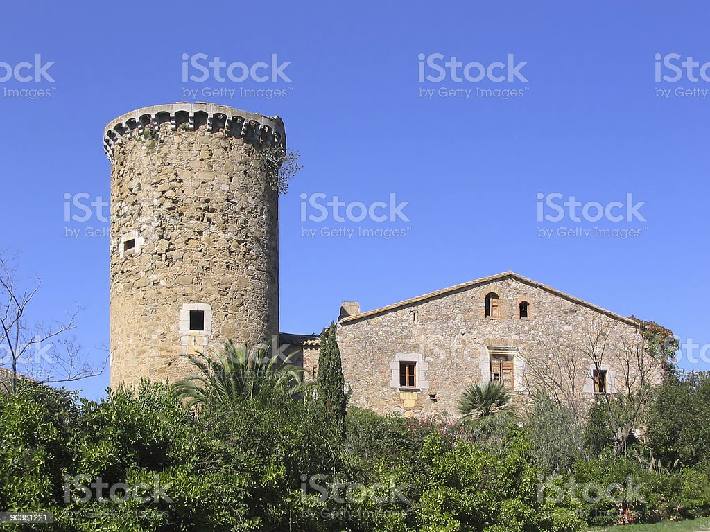Ancient mediterranean manor with watchtower (Costa Brava, Spain) royalty-free stock photo