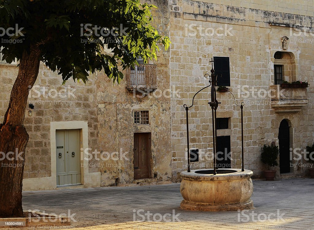 Ancient mesquite tree and well in Mdina, Malta royalty-free stock photo