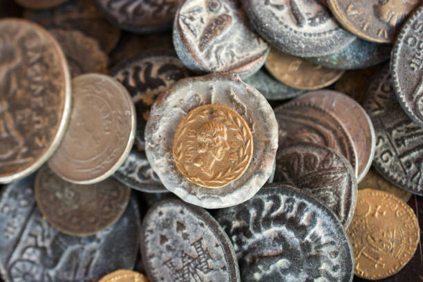 Ancient metal coins collectiion stock photo