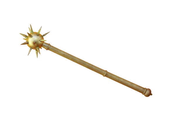 ancient metallic mace ancient metallic mace isolated over white background spiked stock pictures, royalty-free photos & images