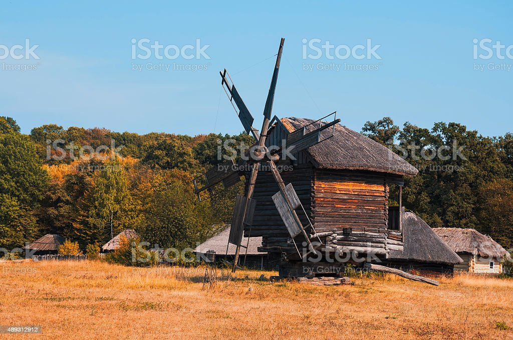 ancient mill on the field,fall, Ukraine