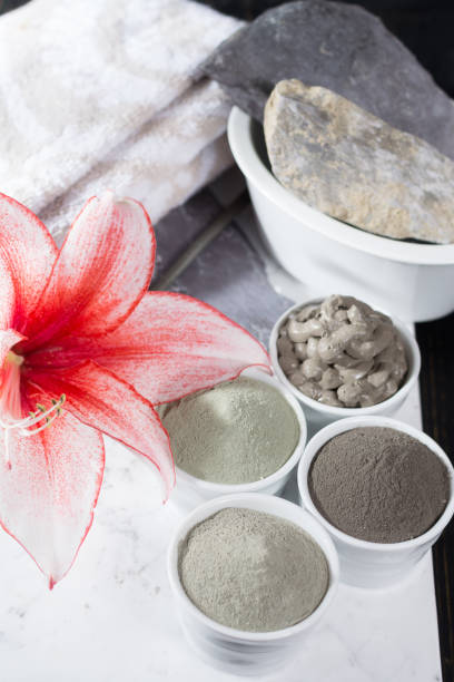 ancient minerals - luxury face and body spa treatment, clay powder and mask - spa belgium stock photos and pictures