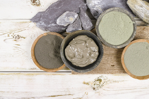 istock Ancient minerals - ochre, green, blue clay powder, mud mask 616225622